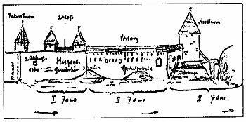 Вид на замок со стороны реки Вента, рис. В.Фромхолда-Трейя 1947 г.