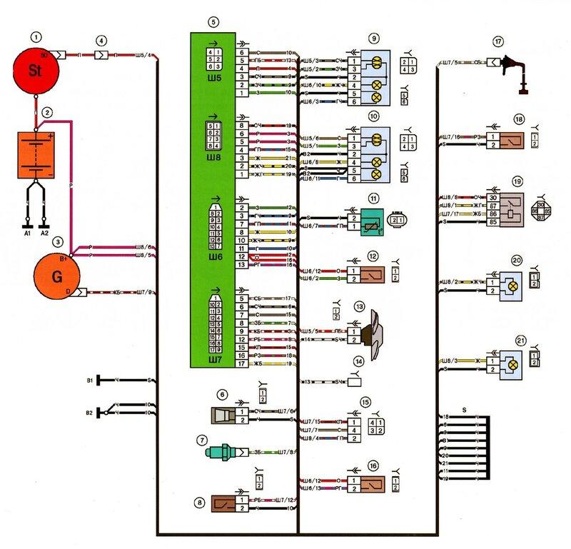 Схема электрических соединений переднего жгута LADA 2115.