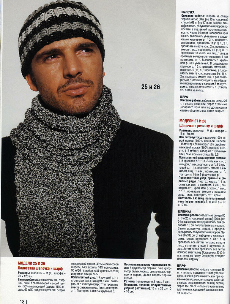 вязаная шапочка для мужчин фото