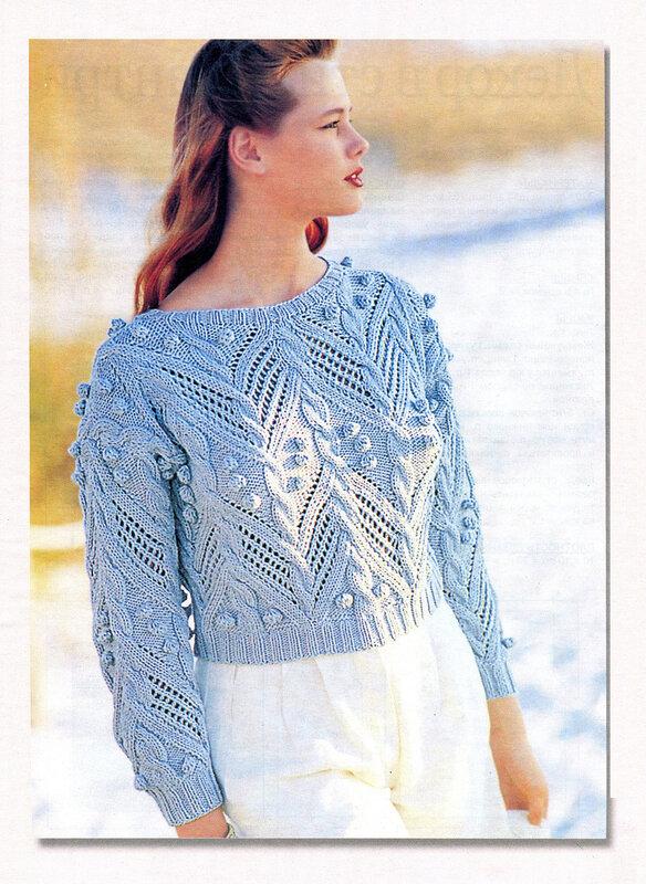 """2. 1. Вязаный пуловер спицами  """"Аранская романтика """", схема вязания.  В вязании использованы узоры резинка и..."""