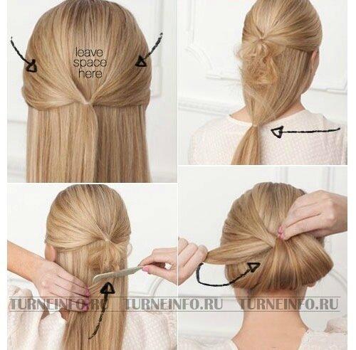 3. Нижние волосы соберите в хвост.  Нижний хвост заверните в верхний.  4. Закрепите получившиюся прическу пучок с...