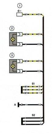 Схема электрических соединений жгута проводов фонарей освещения номерного знака автомобиля LADA 2115.
