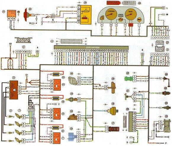 ваз 2111 электрическая схема