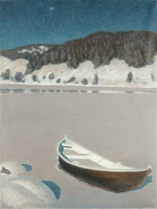 Gustaf Fjaestad. Зимняя ночь над замёрзшим озером. 1900.jpg