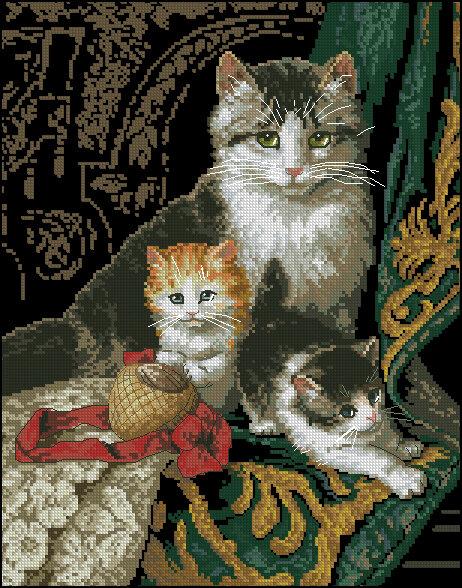 """Схема вышивки крестом  """"Кошки """" ."""