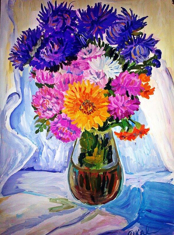 Картинки цветов гуашью 3