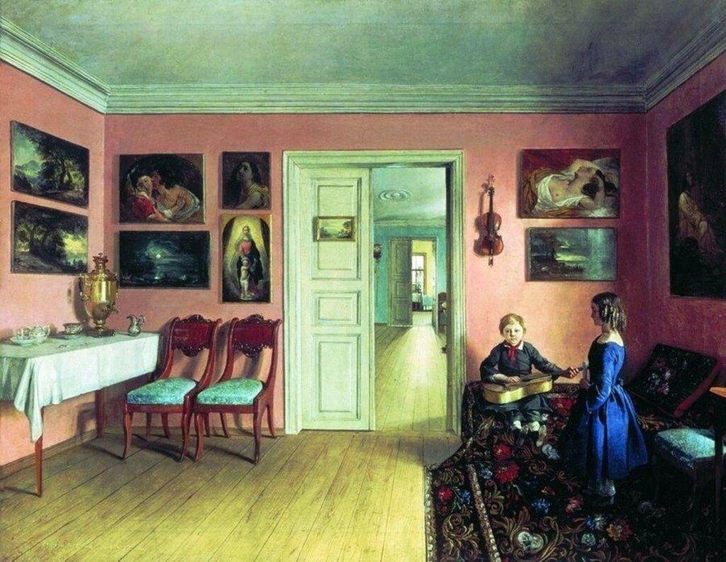 Хруцкий И. В комнатах усадьбы художника И.Ф. Хруцкого «Захарничи». 1855.jpg
