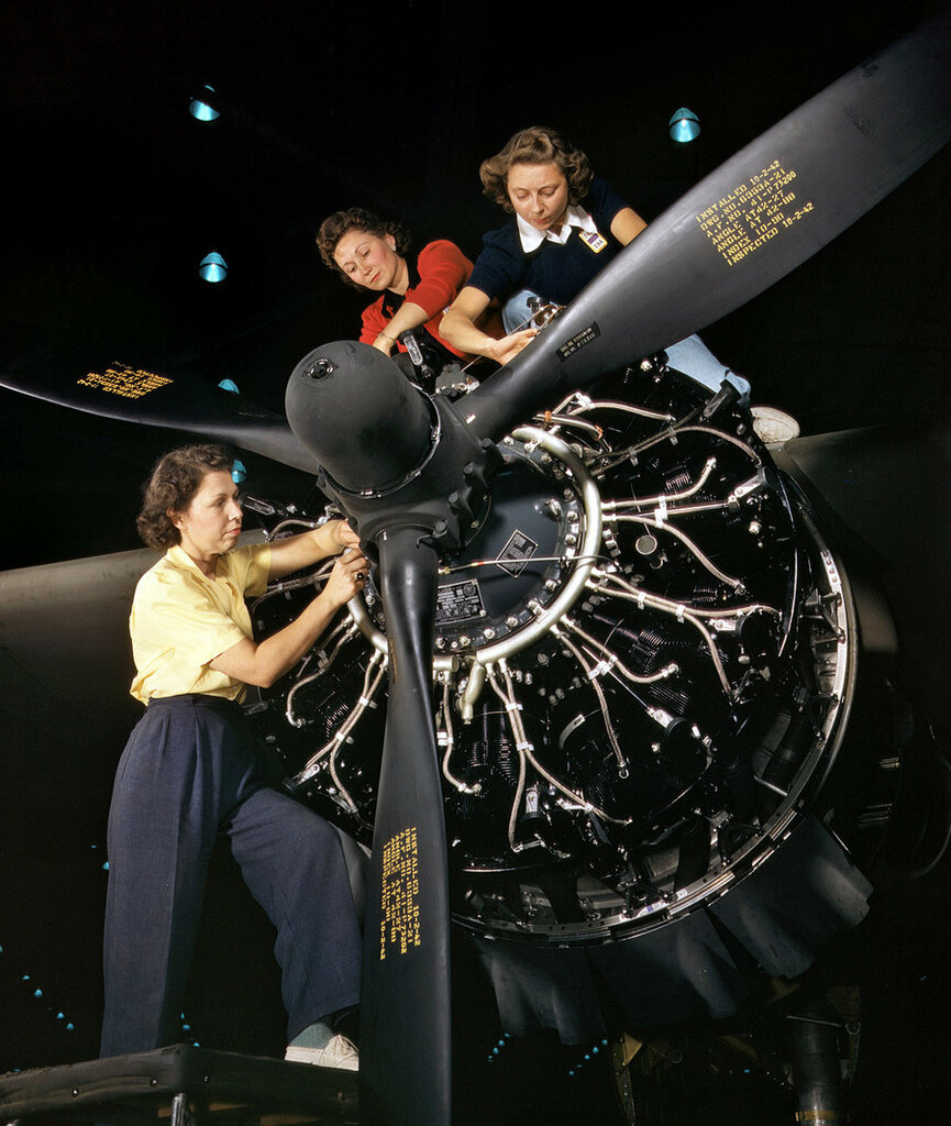 October 1942. Engine installers at Douglas Aircraft in Long Beach, California.jpg