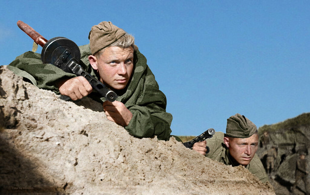 Soviet soldiers are monitoring the movement of German troops nea