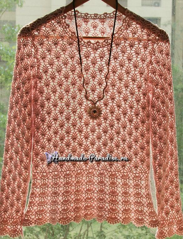 Ажурная блуза крючком. Схема вязания