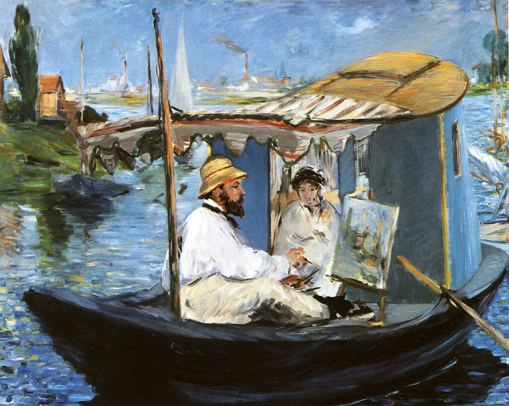 1874 Claude Monet combing in his workshop, 82,5x100,5 cm.jpg