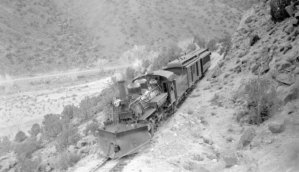 Denver & Rio Grande Western locomotive (Narrow Gauge), engine number 473, engine type 2-8-2, above Embudo, N.M., April 6, 1940.jpg