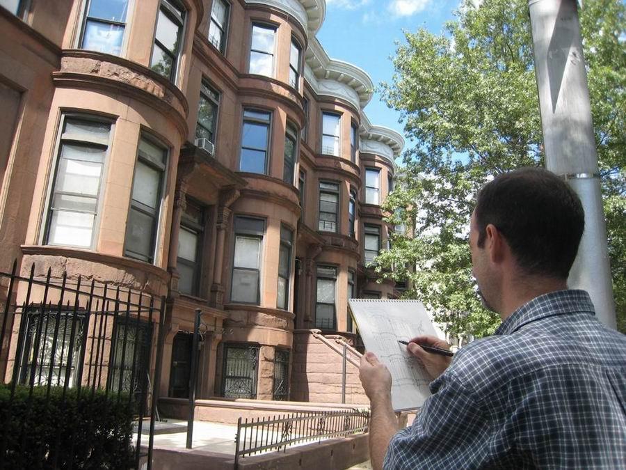 С молескином по Парк-Слоуп. Скетчи Джэймса Анцалоне / James Anzalone. Бруклин, Нью-Йорк
