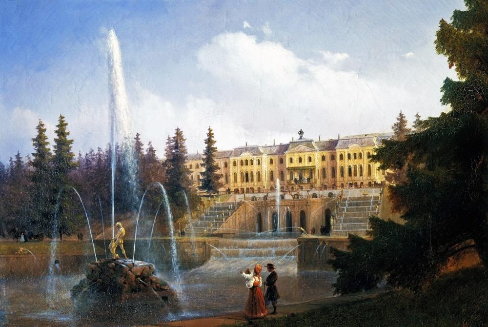 «Вид наБольшой Каскад иБольшой Петергофский дворец», художник Иван Айвазовский.