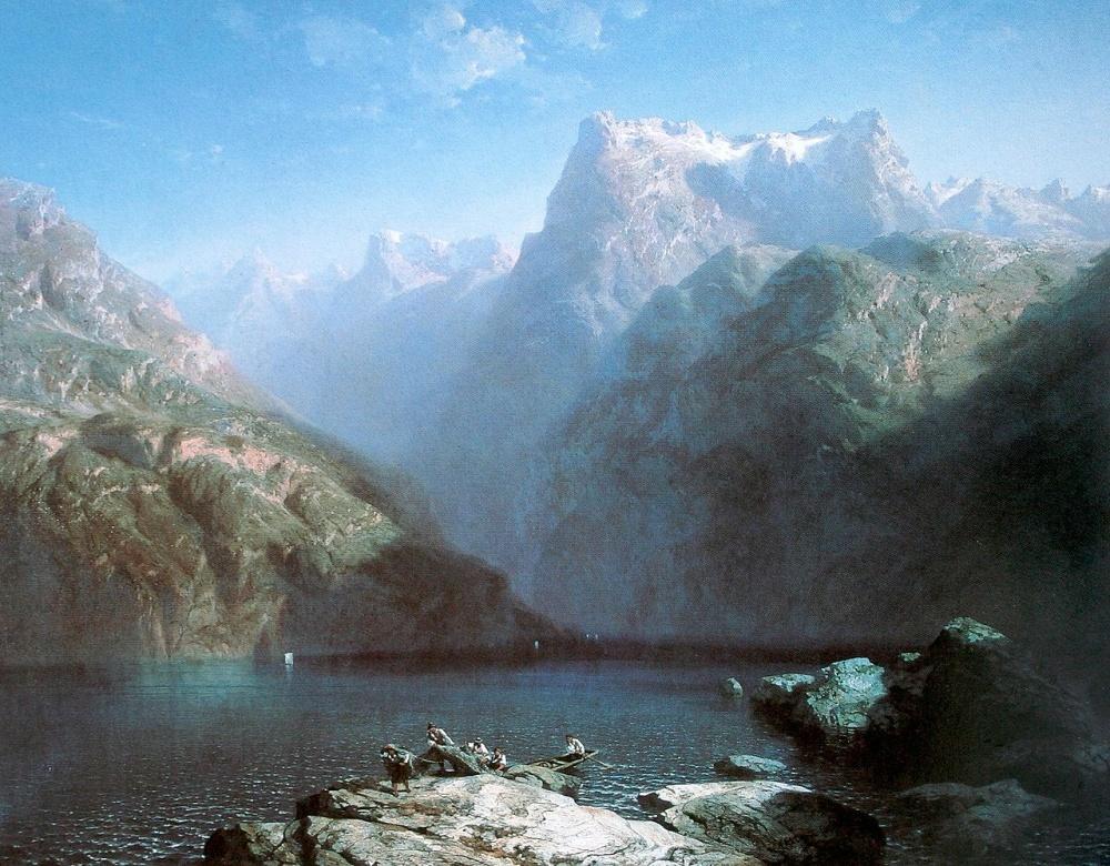 « Озеро Люцерн (голубая симфония) », художник Александр Калам ( Alexandre Calame ).