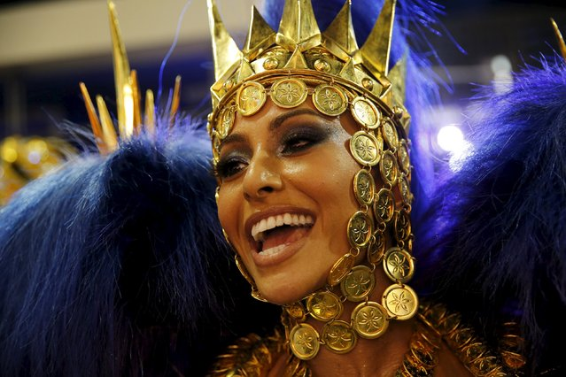 Vila Isabel samba school's Drum Queen Sabrina Sato performs during the carnival parade at the S