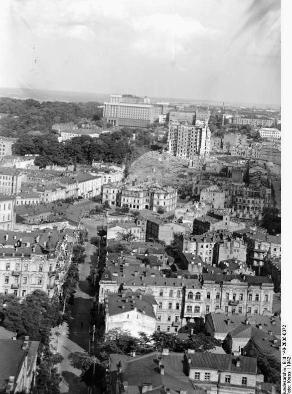 Вид на центр Киева. 1942 год.