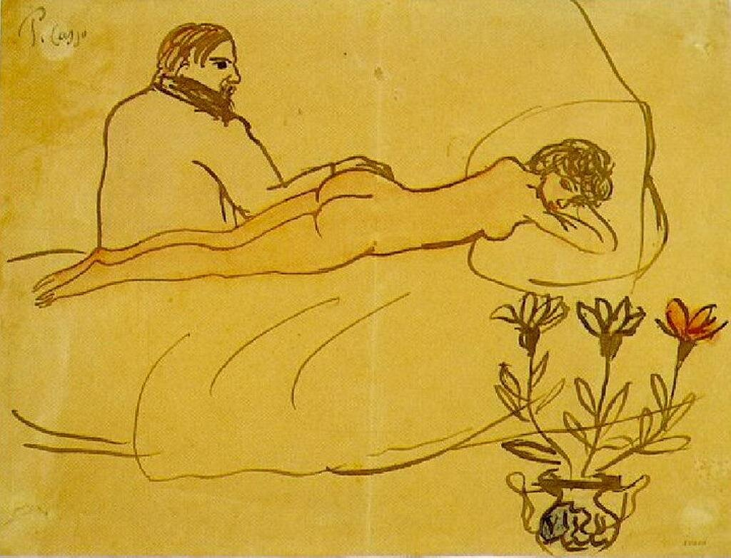 Лежащая обнажённая и сидящий Пикассо, 1902