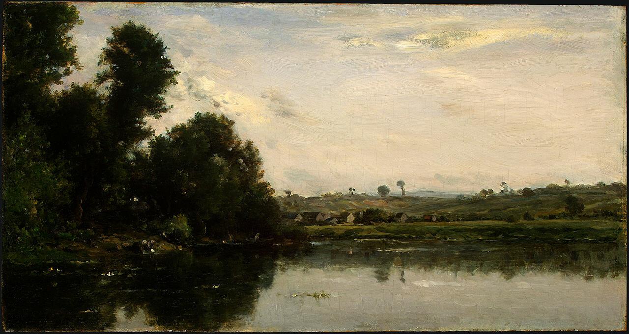 Прачки на реке Уаза возле Вальмондуа, 1865, масло на панели, Добиньи, Шарль-Франсуа(1817–1878), Национальная Галерея искусства, Вашингтон