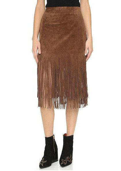 Замшевая юбка с бахромой