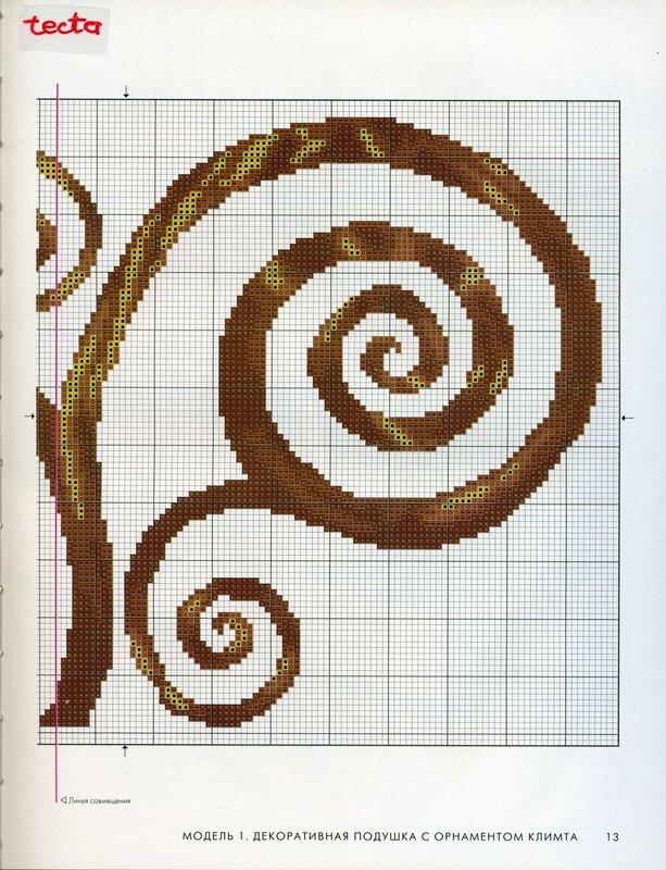 схема орнамента вышивки. вышиваем крестиком на подушке.