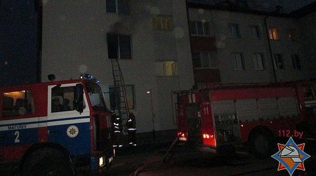 В Могилеве на пожаре спасатели вынесли из огня многодетную мать и ребенка