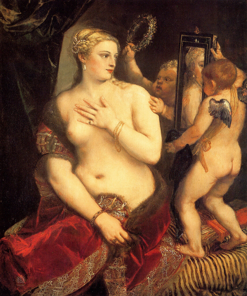 Тициан (Тициано Вечеллио): Titian Venus in front of the mirror 1553 54