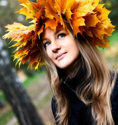 идеи для осенней фотосессии - Осенний венок на голове