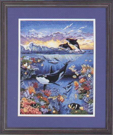 """Оригинал - Схема вышивки  """"Летающие дельфины """" - Схемы автора  """"iridis """" - Вышивка крестом."""