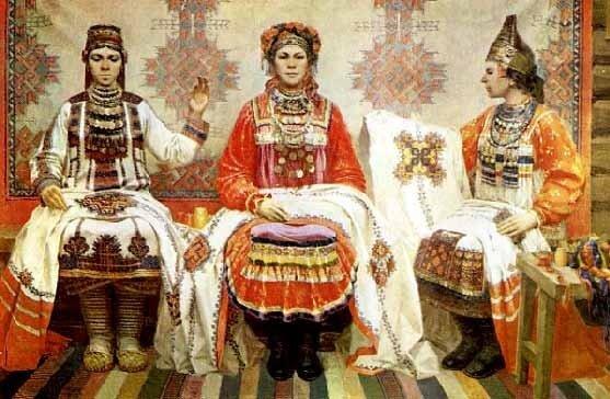 И. Сидельников. Вышивальщицы.