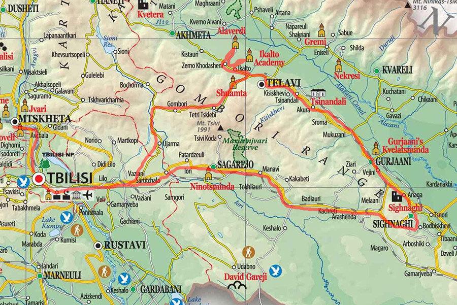 Карта нашей первой поездки по Кахетии