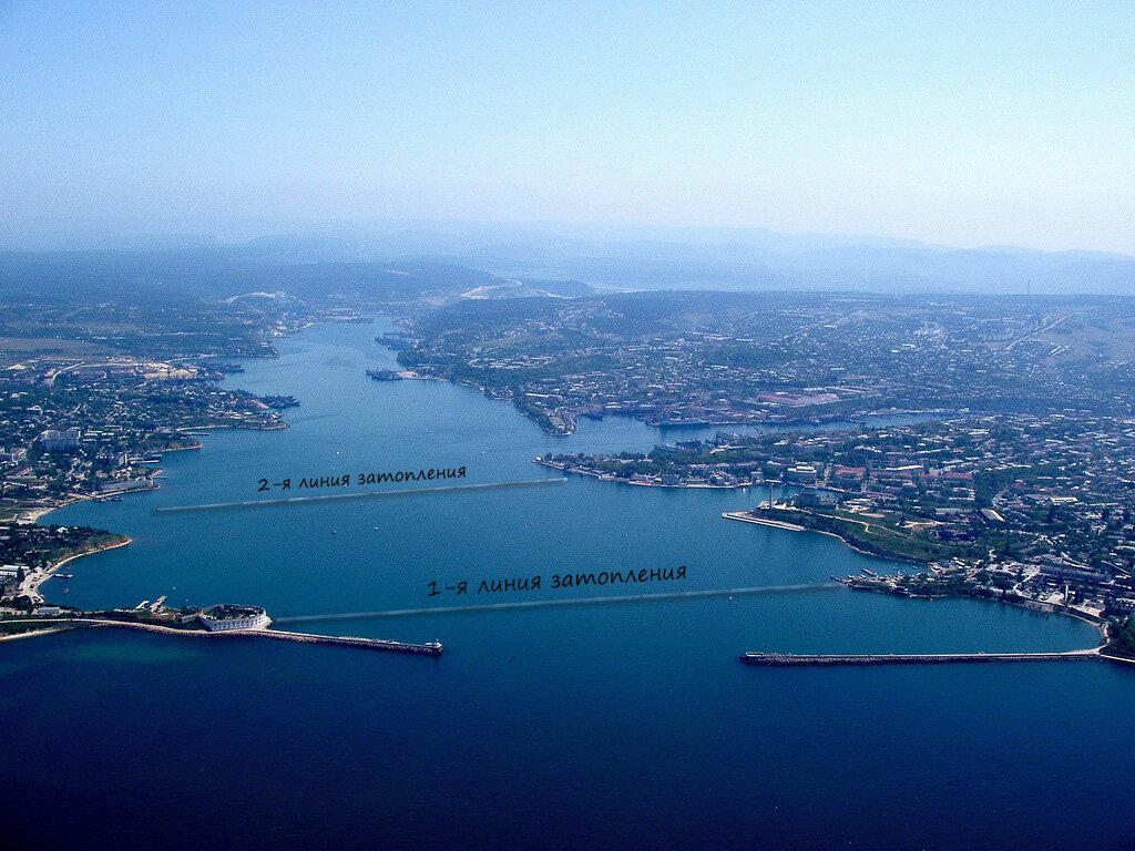 Линии затопления кораблей в севастопольской бухте