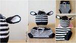 Комплект для фотосессии новорожденного шапочка и трусики зебра