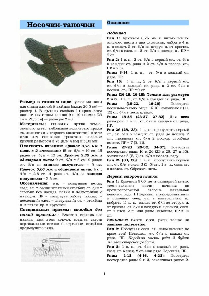 Вязание тапочек спицами с описанием (для начинающих)