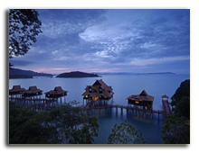 Малайзия. Лангкави. BerjayaLangkawi_Premier_Chalet_On_Water_-_Facade_At_Dawn
