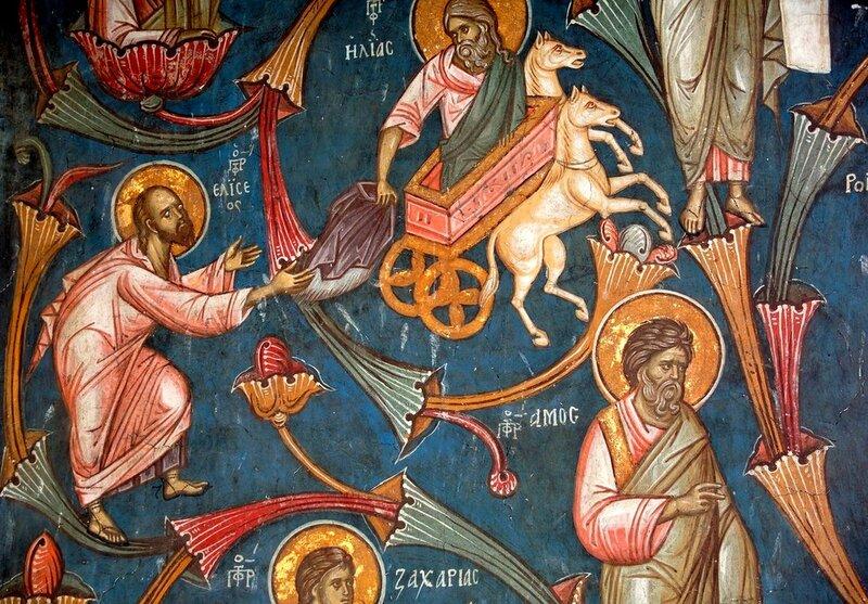 Огненное восхождение Илии Пророка. Фреска монастыря Высокие Дечаны, Косово, Сербия. Около 1350 года.
