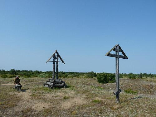 Старообрядческий крест на предпологаемом месте сожжения протопопа Аваакума