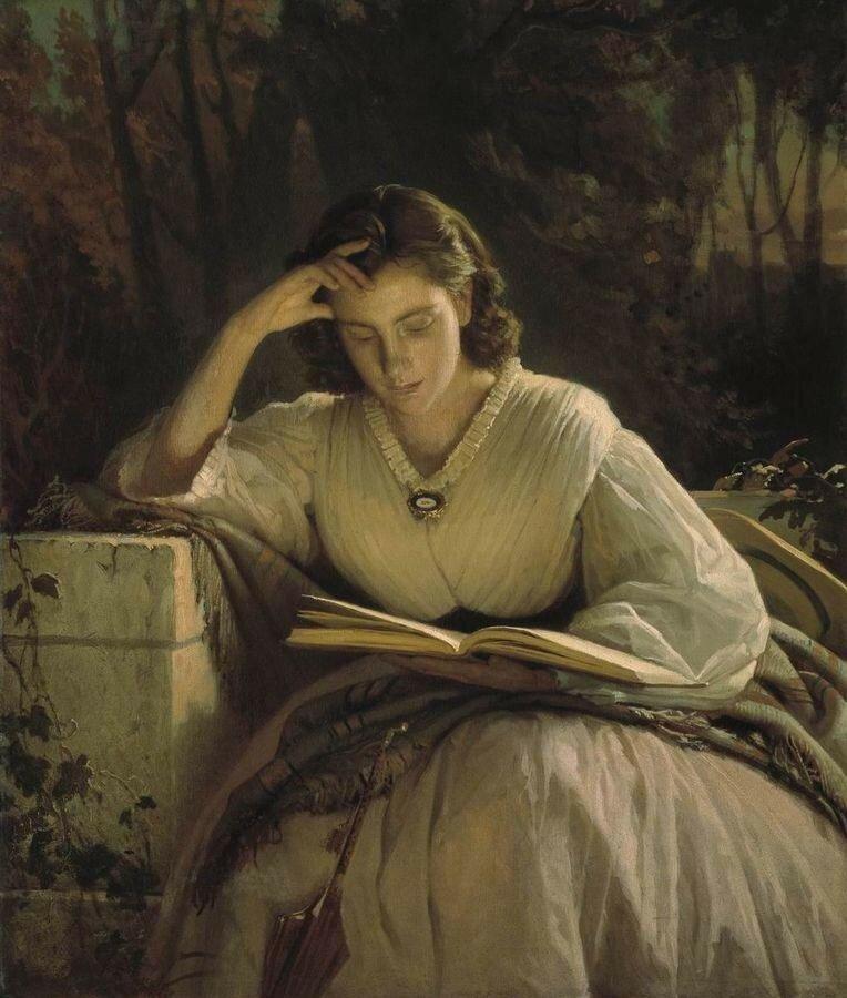 За чтением. Портрет Софьи Николаевны Крамской, жены художника. 1866–1869.jpg