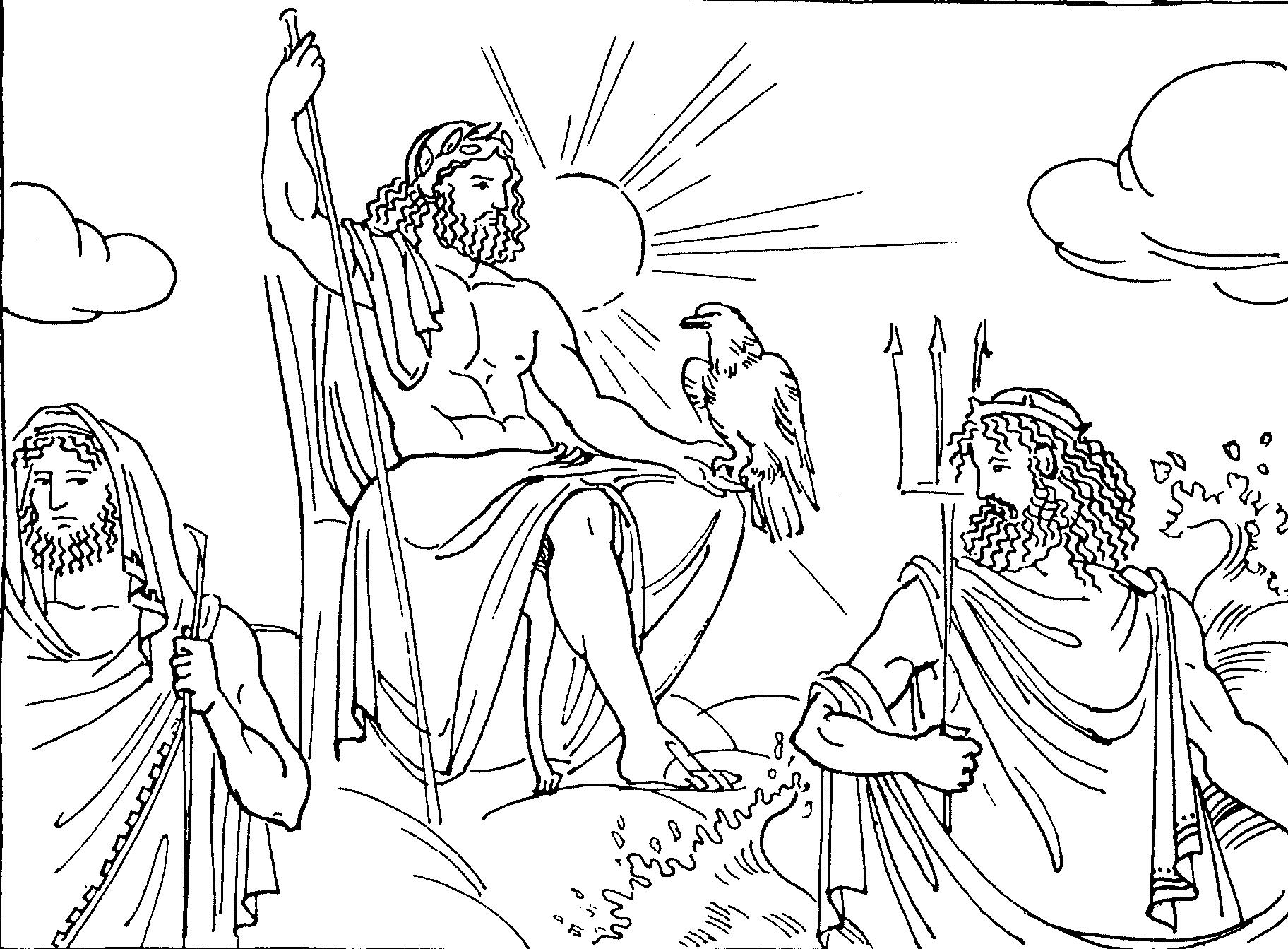Раскраска древних богов олимпа