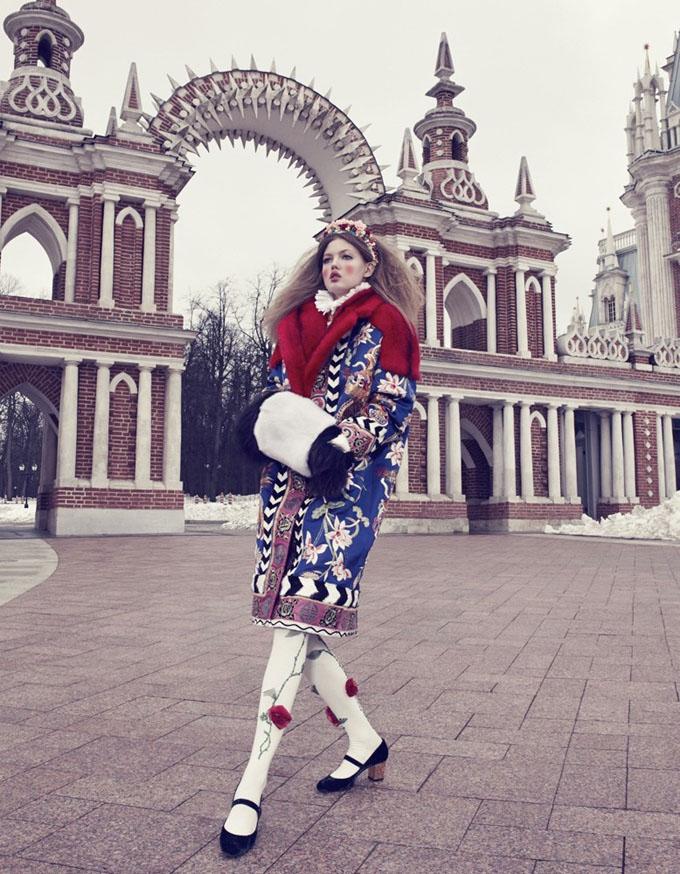Линдси Виксон в стиле а-ля-рус для Vogue Japan