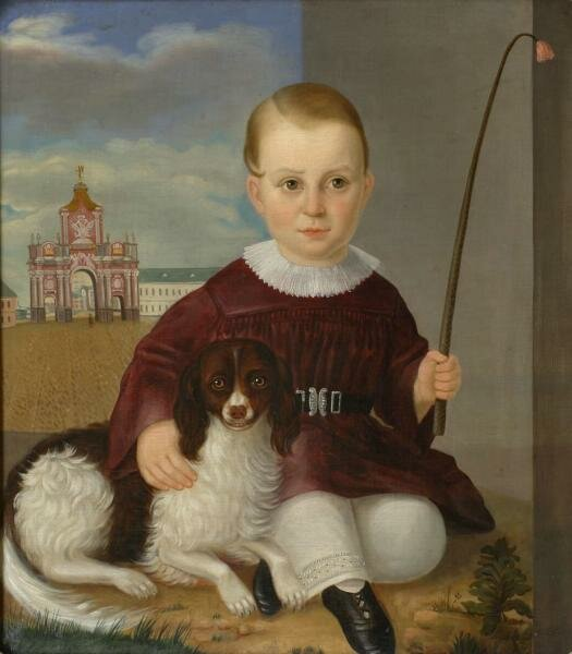 Портрет отрока с собакой на фоне Красных ворот в Москве