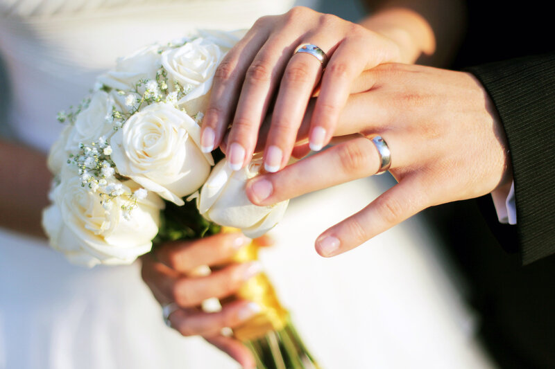 Wedding rings and hands