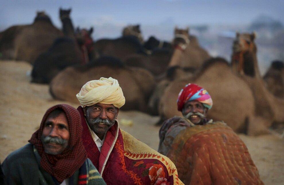 Усатые торговцы, закутавшись в одеяла, ждут первых утренних клиентов.