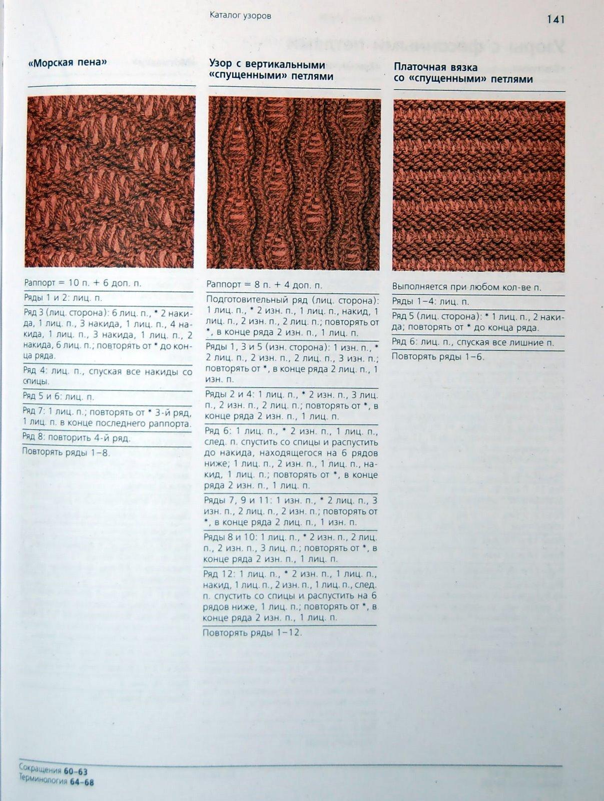 Описание вязания узора со снятыми петлями 56