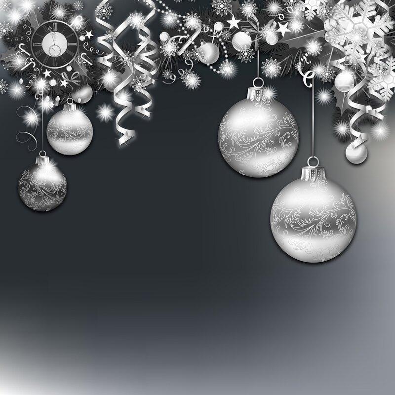 Черно белая новогодняя открытки