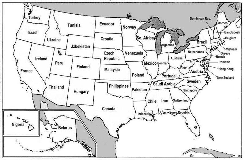 страны мира = штаты США