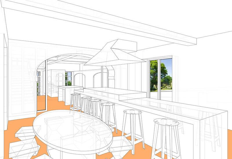 Интерьер первого этажа. Кухня, проект домика в швейцарском стиле.