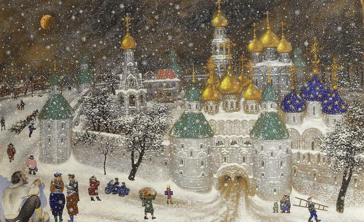 Древний русский монастырь осквернённый Центром Коммунистической пропаганды; Стоит зима и падает снег