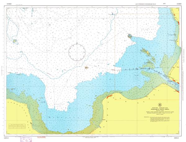 Подходы к порту Онега - морские навигационные карты на lenv.ru