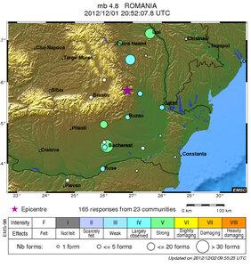 Землетрясение 1 декабря в горах Румынии — 4,8 балла
